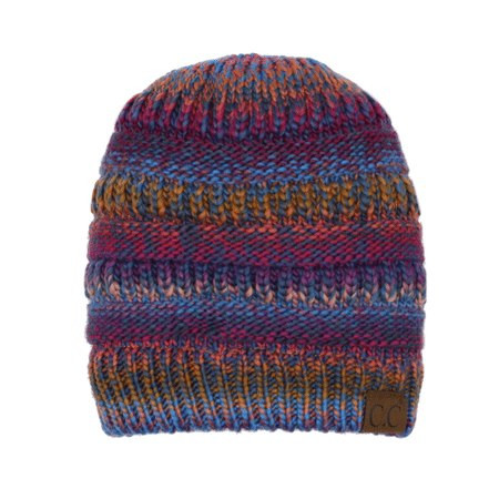 Messy Bun Multi Color Cable Knit Beanie - Mustard Mix - Trendy ... 949cda754601