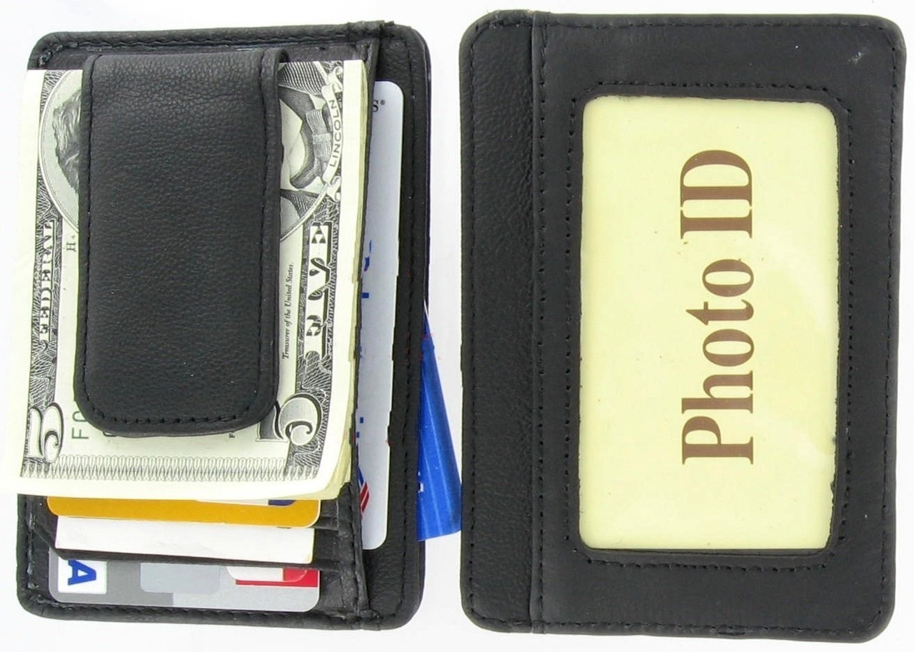 Slim Thin Mens Leather Wallet Money Clip Credit Card ID Holder Front Pockets