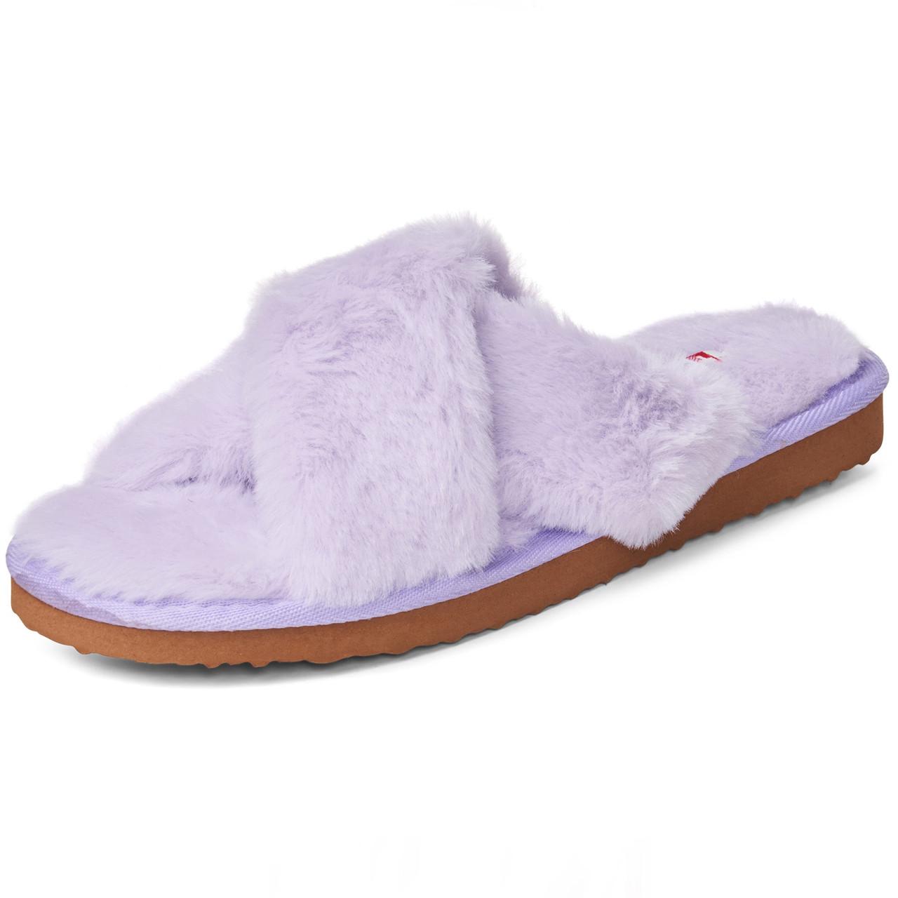 Women/'s Faux Fur Knit Memory Foam Slippers Comfort Indoor House Shoes