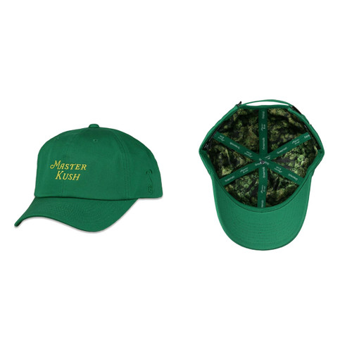 Buy a Green Master Kush Script Dad Strapback Hat Online from Tree Huggers Co-op