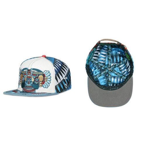 Buy a Stylish, Mayan Smile Strapback Hat (Blue) Online from Tree Huggers Co-op