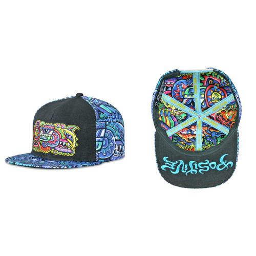 Buy a Blue Chris Dyer Rainbow Serpent Snapback Hat Online from Tree Huggers Co-op
