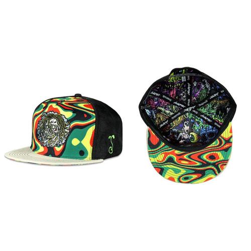 Buy a Jimbo Phillips Rasta Skull Snapback Hat (Rasta) Online from Tree Huggers Co-op