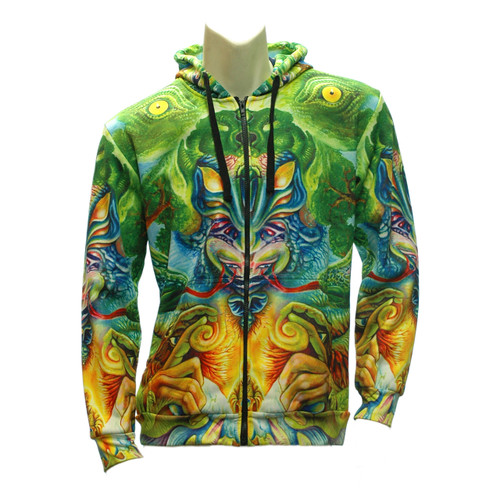 Buy a Stylish Snake Buddha Zip-up Hoodie Online from Tree Huggers Co-op