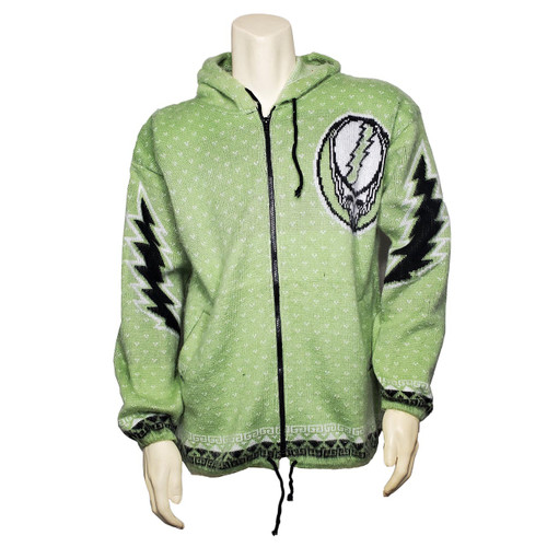 Buy a Stylish Grateful Dead Steal Your Face Alpaca Zip-up Hoodie (Green) Online from Tree Huggers Co-op