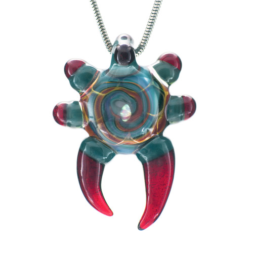 Buy a Honeycomb Horn Glass Pendant (Red/Blue) Online from Tree Huggers Co-op