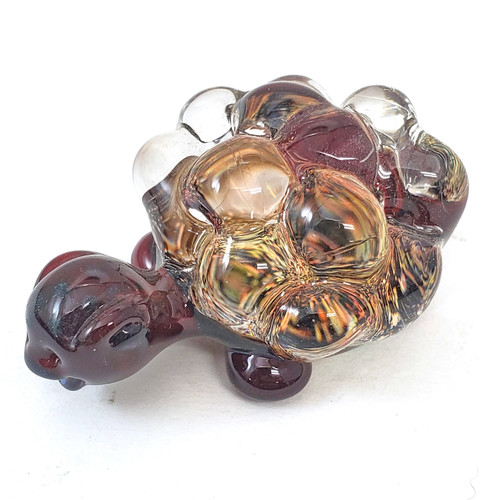 Buy a Dichroic Glass Turtle Pendant (Blood Red/Gold Dichroic) Online from Tree Huggers Co-op