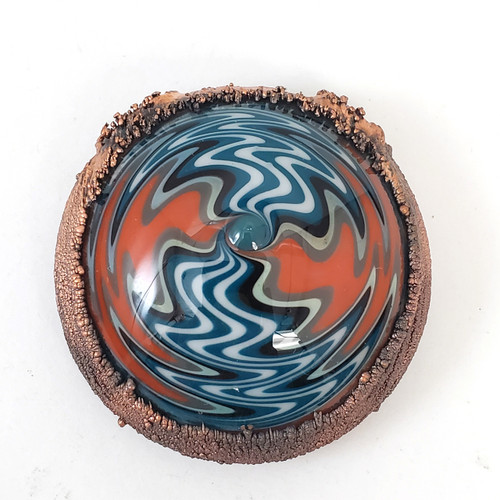 Buy a Hollow Wig Wag Electroformed Glass Pendant (Orange/Blue) Online from Tree Huggers Co-op