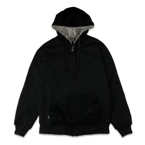 Removable Bear Black Corduroy Zip Up Hoodie