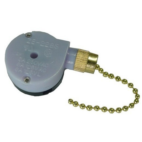 Morris Products 70045 Pull Chain Brass SPTDT 2 Speed Off-On-On