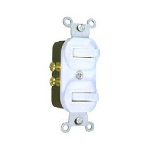 Morris Products 82091 Single Pole Double Toggle Switch White 15A-120V