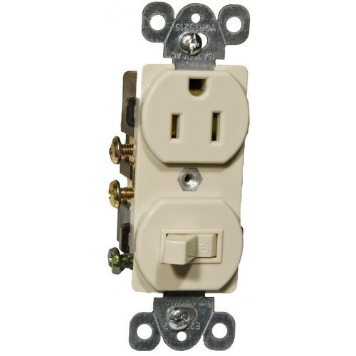 Morris Products 82175 Combination Single Pole Switch and Receptacle Ivory 15A-120V