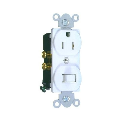Morris Products 82176 Combination Single Pole Switch and Receptacle White 15A-120V