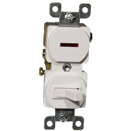 Morris Products 82096 Single Pole Toggle Switch and Pilot Light White 15A-120V