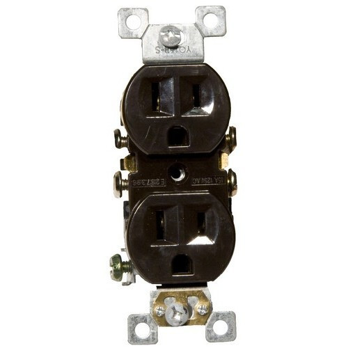 Morris Products 82122 Standard Duplex Receptacle Brown 15A-125V