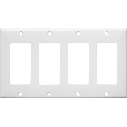 Morris Products 81779 Lexan Wall Plates 4 Gang Midsize Decorative/GFCI White