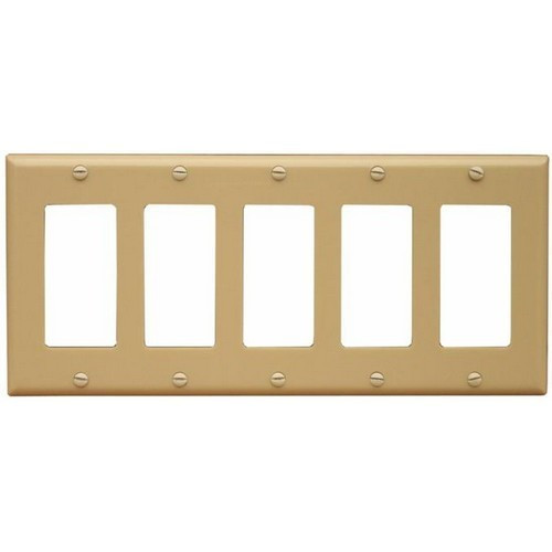 Morris Products 81780 Lexan Wall Plates 5 Gang Midsize Decorative/GFCI Ivory