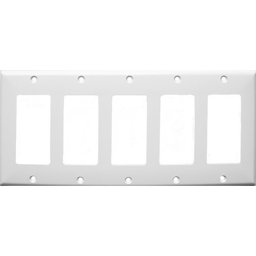 Morris Products 81781 Lexan Wall Plates 5 Gang Midsize Decorative/GFCI White