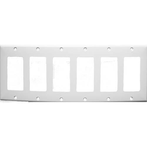 Morris Products 81786 Lexan Wall Plates 6 Gang Midsize Decorative/GFCI White
