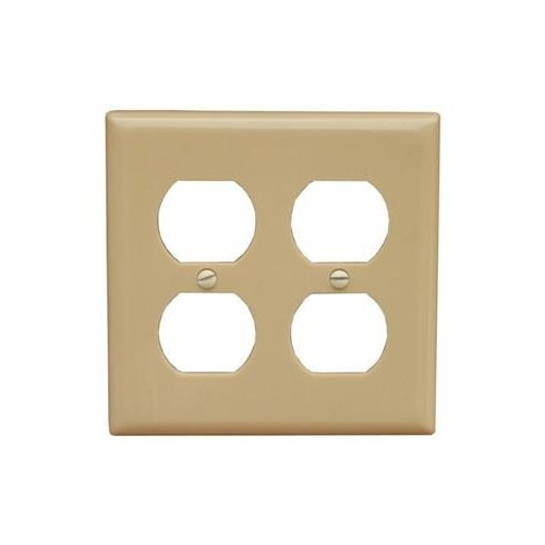 Morris Products 81760 Lexan Wall Plates 2 Gang Midsize Duplex Receptacle Ivory