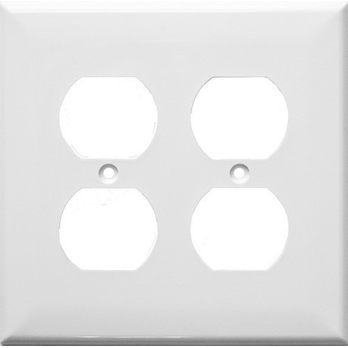 Morris Products 81761 Lexan Wall Plates 2 Gang Midsize Duplex Receptacle White