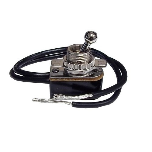 """Morris Products 70061 Medium Duty Short Ball Bat Toggle Switch SPST On-Off 6"""" Leads with On-Off Plate"""
