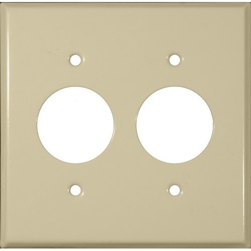 """Morris Products 83513 Painted Steel Wall Plates 2 Gang 2 Single Receptacles 1.406"""" Hole Dia. Ivory"""