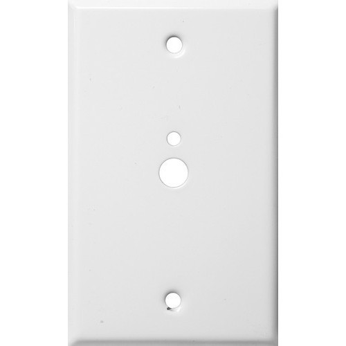 """Morris Products 83522 Painted Steel Wall Plates 1 Gang 1 Phone 1 Cable .374"""" & .177"""" Hole Dia. White"""