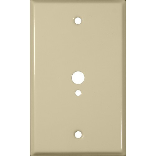 """Morris Products 83523 Painted Steel Wall Plates 1 Gang 1 Phone 1 Cable .374"""" & .177"""" Hole Dia. Ivory"""