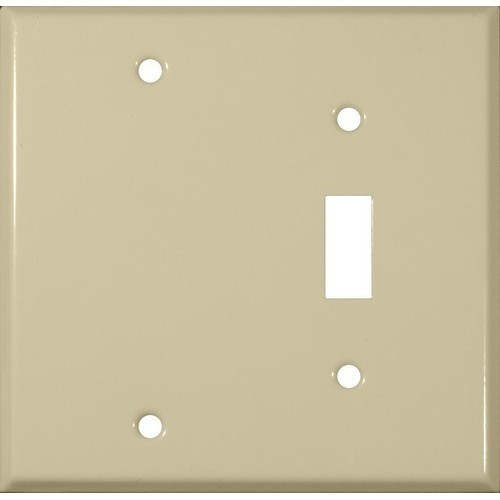 Morris Products 83413 Painted Steel Wall Plates 2 Gang 1 Toggle 1 Blank Ivory
