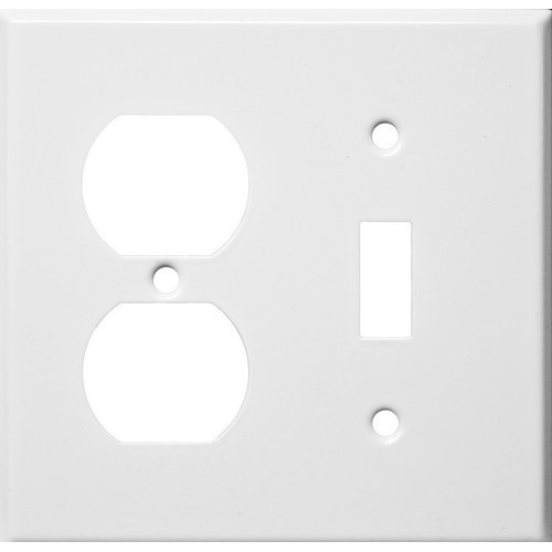 Morris Products 83422 Painted Steel Wall Plates 2 Gang 1 Duplex 1 Toggle White
