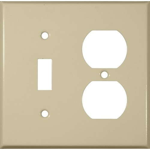 Morris Products 83423 Painted Steel Wall Plates 2 Gang 1 Duplex 1 Toggle Ivory
