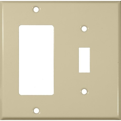Morris Products 83433 Painted Steel Wall Plates 2 Gang 1 Toggle 1 GFCI Ivory