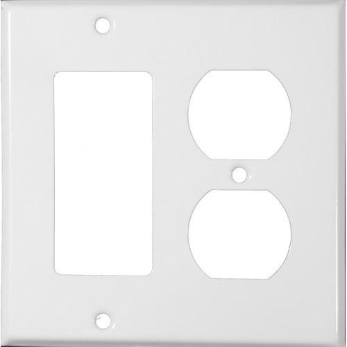 Morris Products 83442 Painted Steel Wall Plates 2 Gang 1 Decorative 1 Duplex White