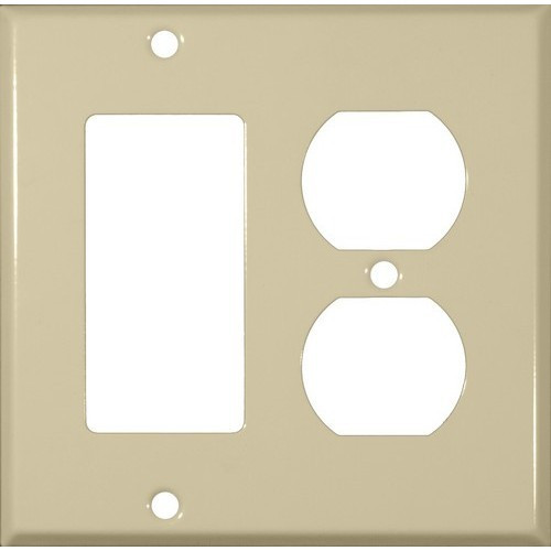 Morris Products 83443 Painted Steel Wall Plates 2 Gang 1 Decorative 1 Duplex Ivory