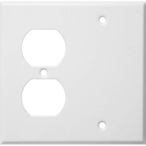 Morris Products 83542 Painted Steel Wall Plates 2 Gang 1 Duplex 1 Blank White