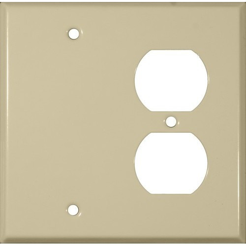 Morris Products 83543 Painted Steel Wall Plates 2 Gang 1 Duplex 1 Blank Ivory