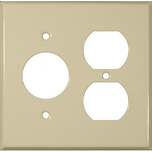 """Morris Products 83553 Painted Steel Wall Plates 2 Gang 1 Duplex 1 Single Receptacle 1.406"""" Hole Dia. Ivory"""