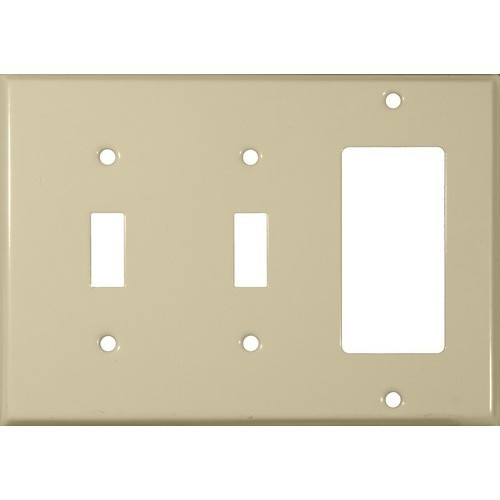 Morris Products 83583 Painted Steel Wall Plates 3 Gang 2 Toggle 1 GFCI Ivory