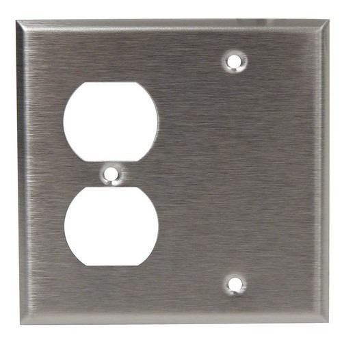 Morris Products 83540 430 Stainless Steel Wall Plates 2 Gang 1 Duplex 1 Blank