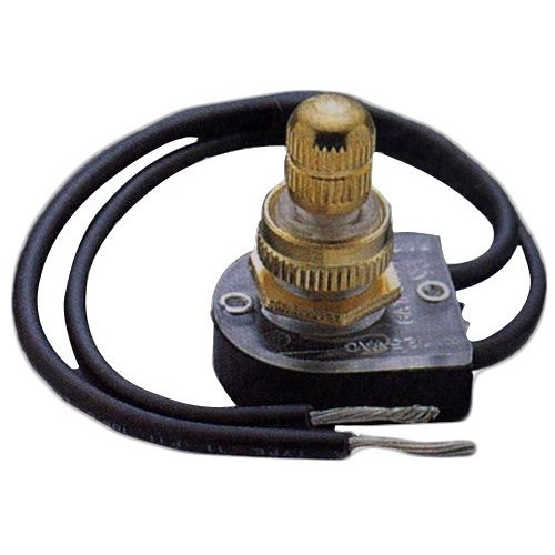 """Morris Products 70220 Rotary Switch SPST Brass Button On-Off with 6"""" Leads"""
