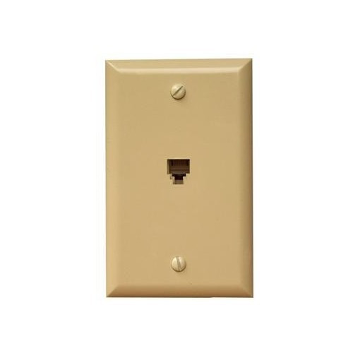 Morris Products 80010 Single RJ11 4 Conductor Phone Jack Wallplate Ivory