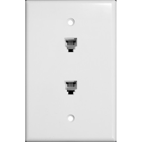 Morris Products 87021 Midsize Dual RJ11 4 Conductor Phone Jack Wallplate White