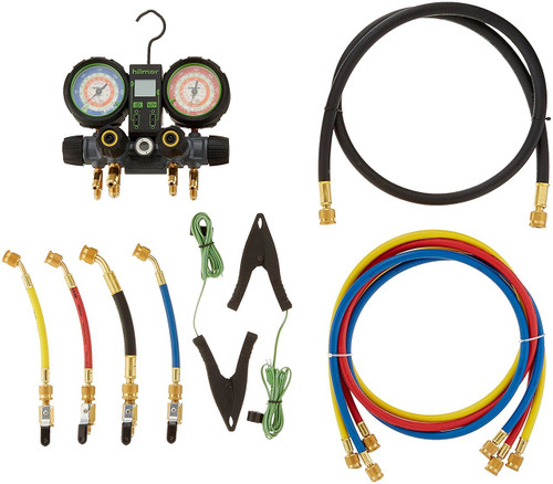 "Hilmor 1839131 4V22404410HD R22-404A-410A 4 Valve Aluminum Manifold w/ 60"" Hoses and Ball-Valve Adapters & DROT2TCC Thermometer"