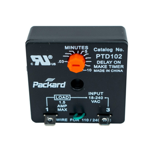 Packard PTD102 Time Delay Relay, Delay on Make, 10 Minute Adjustable