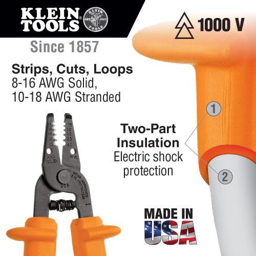 Klein Tools  11055-INS Insulated Klein-Kurve® Wire Stripper/Cutter