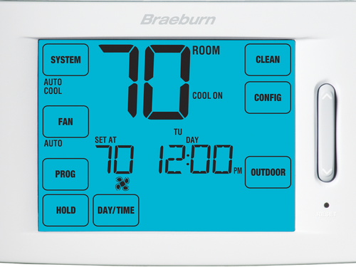Braeburn 6100 Deluxe Touchscreen Universal Programmable Thermostat 7 Day 5-2 Day  1 Heat / 1 Cool