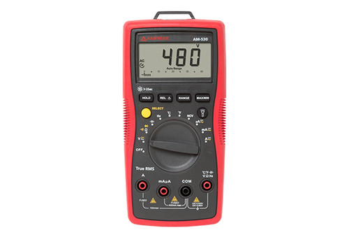"The Amprobe AM-530 autoranging digital multimeter is the multimeter of choice for professional electrical contractors. The AM-530 is a True-rms digital multimeter so it accurately measures voltage on systems affected by harmonics. With its full menu of digital multimeter features, you can use it to: measure and verify the presence of voltage before connecting new equipment or performing repairs; run new wiring; check continuity of electrical connections; identify blown fuses; troubleshoot motors or check transformers. The CAT III 600 V safety rating provides an extra measure of safety for high voltage multimeter applications. Its built-in flashlight helps you see wire colors in the dark and ""third hand"" probe holder gives you an extra hand when you need it."