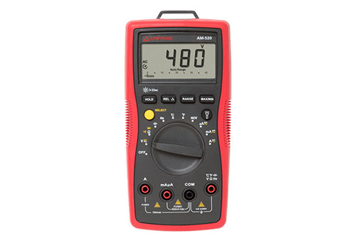"Designed primarily for HVAC professionals, the AM-520 autoranging digital multimeter offers all the most commonly used HVAC digital multimeter features such as temperature, micro amps to troubleshoot flame sensors, and capacitance to check motor startup capacitors. With its CAT III safety rating, this high voltage multimeter measures a broad range of electrical parameters. The backlit LCD display makes it easy to read, and it's easy to use with non-contact voltage detection, the ""third hand"" probe holder, and the built-in flashlight."