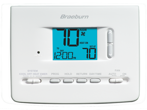 Braeburn 2220NC Builder Programmable Thermostat 7 Day 5-2 Day or Non-Programmable 2 Heat / 1 Cool